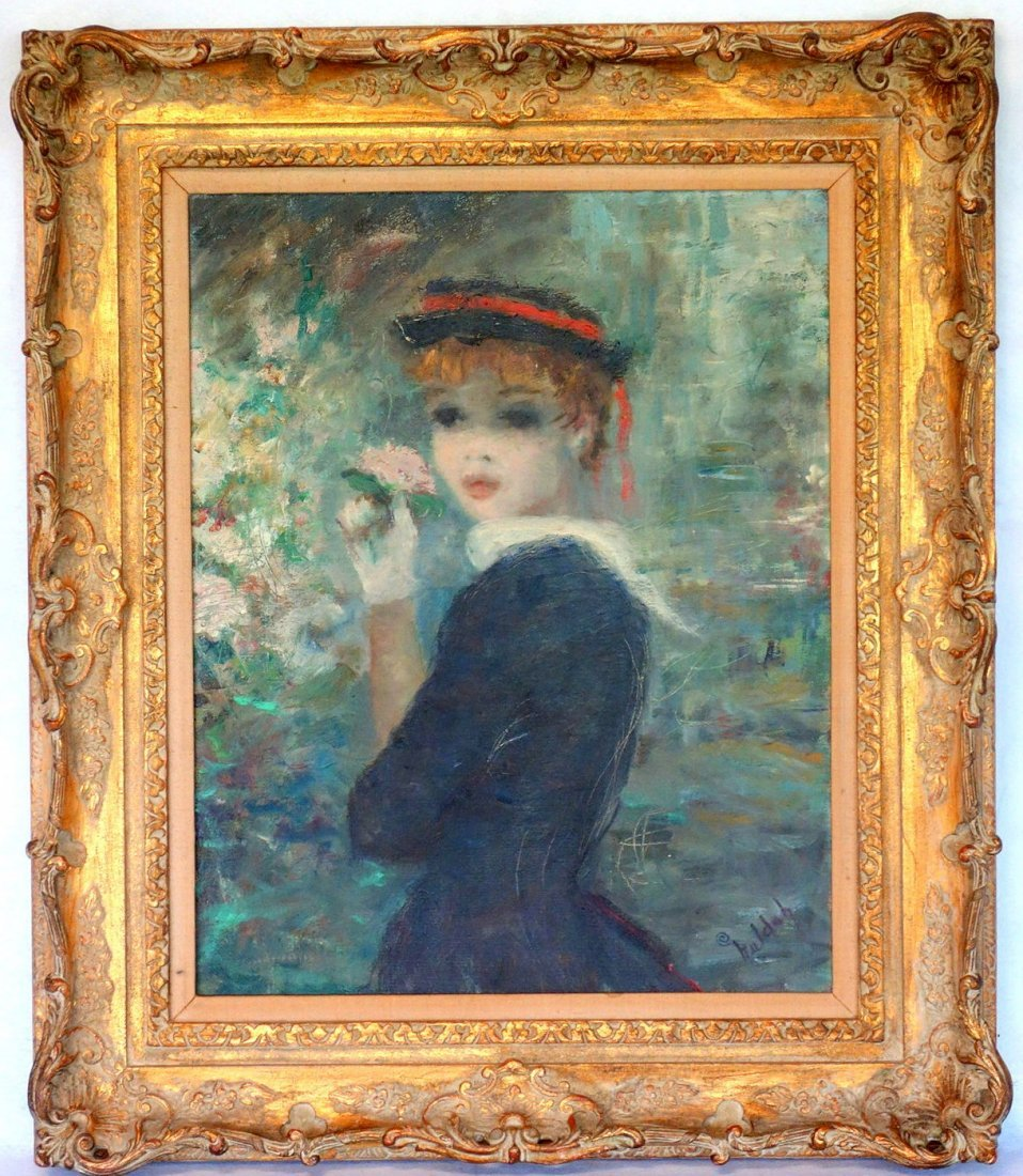 Large O/C Portrait of a young lady wearing a bonnet and