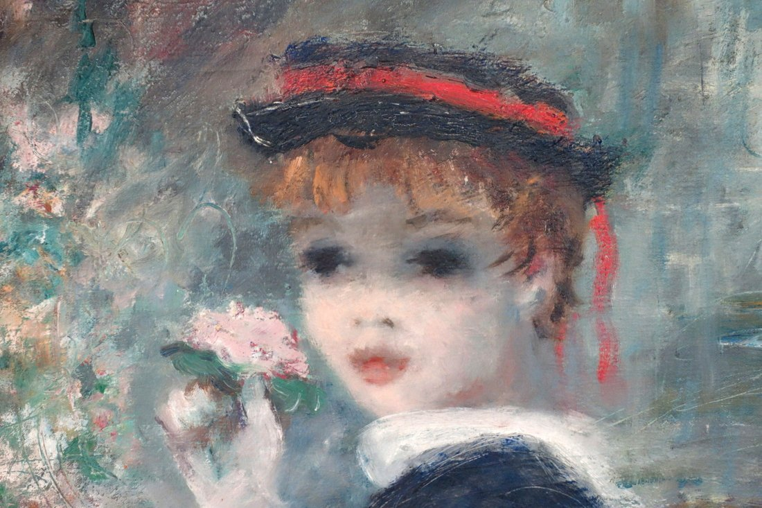 Large O/C Portrait of a young lady wearing a bonnet and - 2