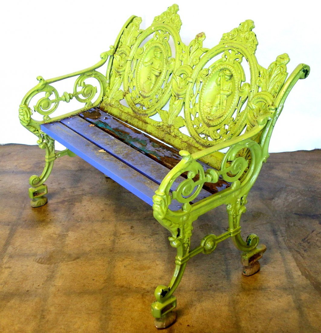 Ornate cast aluminum park bench decorated with scrolls - 3