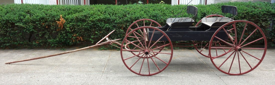 Old 2 seat buckboard wagon with 2 seats and wooden - 2