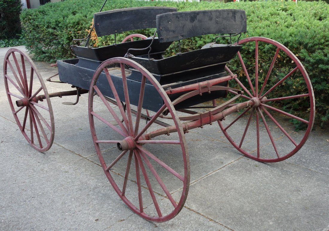 Old 2 seat buckboard wagon with 2 seats and wooden - 3