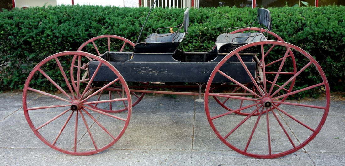 Old 2 seat buckboard wagon with 2 seats and wooden - 5