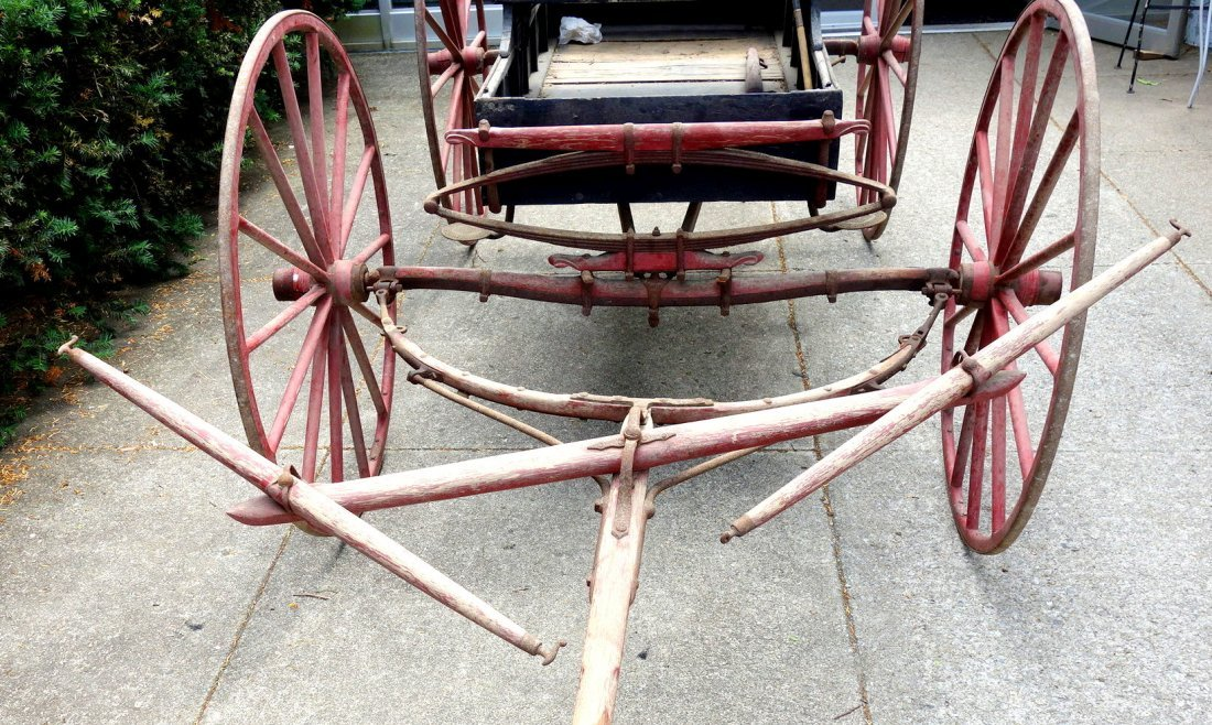 Old 2 seat buckboard wagon with 2 seats and wooden - 6