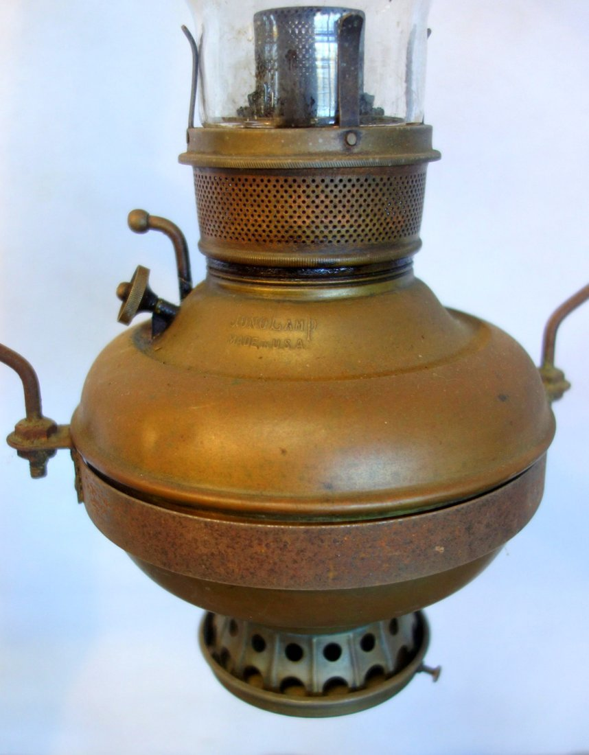 Country store hanging oil lamp with tin shade and smoke - 3