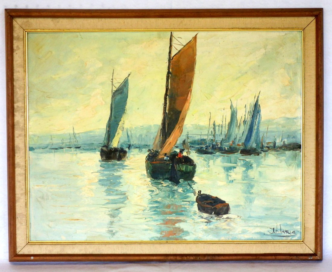 O/C Sailing vessels in harbor signed J. Hilario. Very
