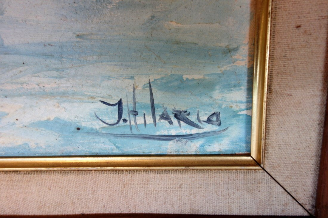 O/C Sailing vessels in harbor signed J. Hilario. Very - 2