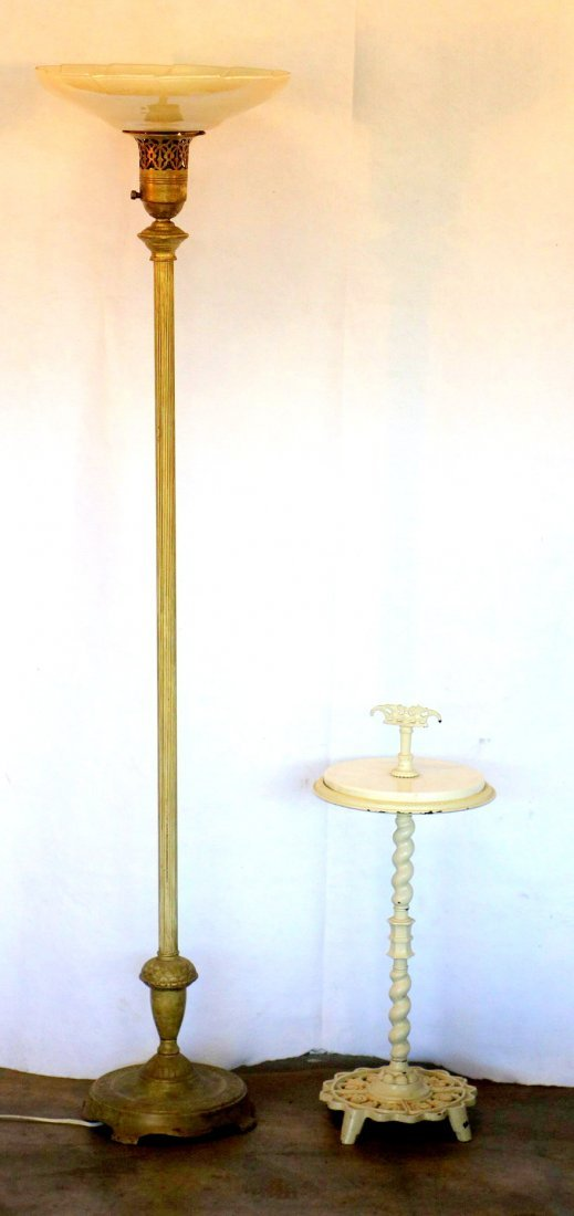 Two decorative objects including torchere floor lamp