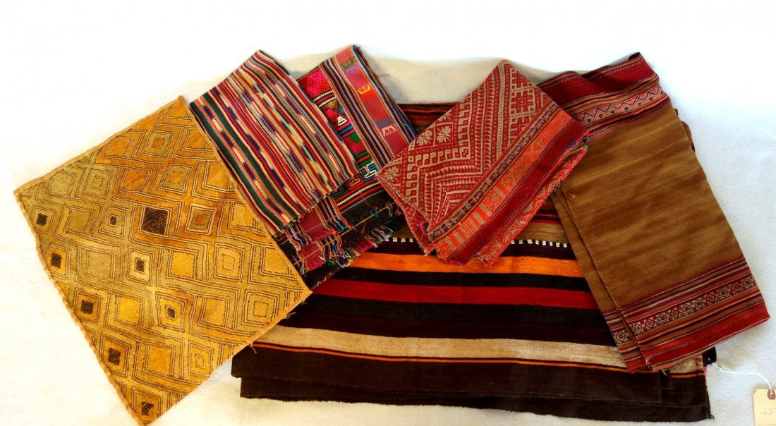 Grouping of 7 various woven textiles, 19th and 20th