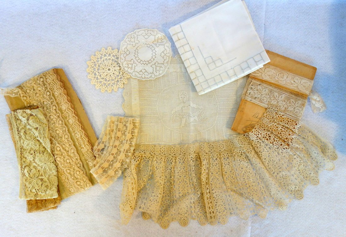 Grouping of mostly old lace, one piece with attached - 6