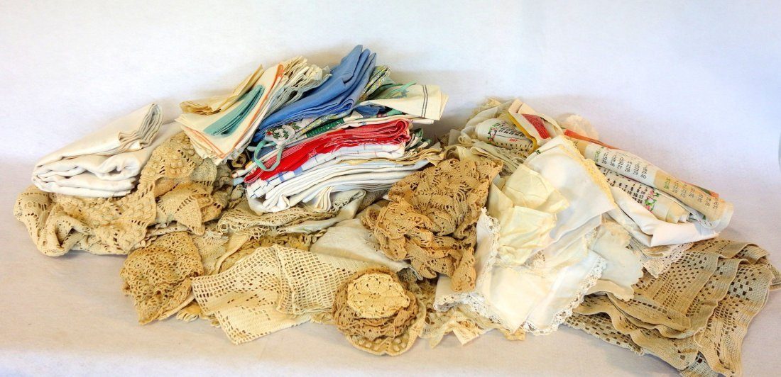 Large lot of 2 boxes of old mostly hand sewn linens and