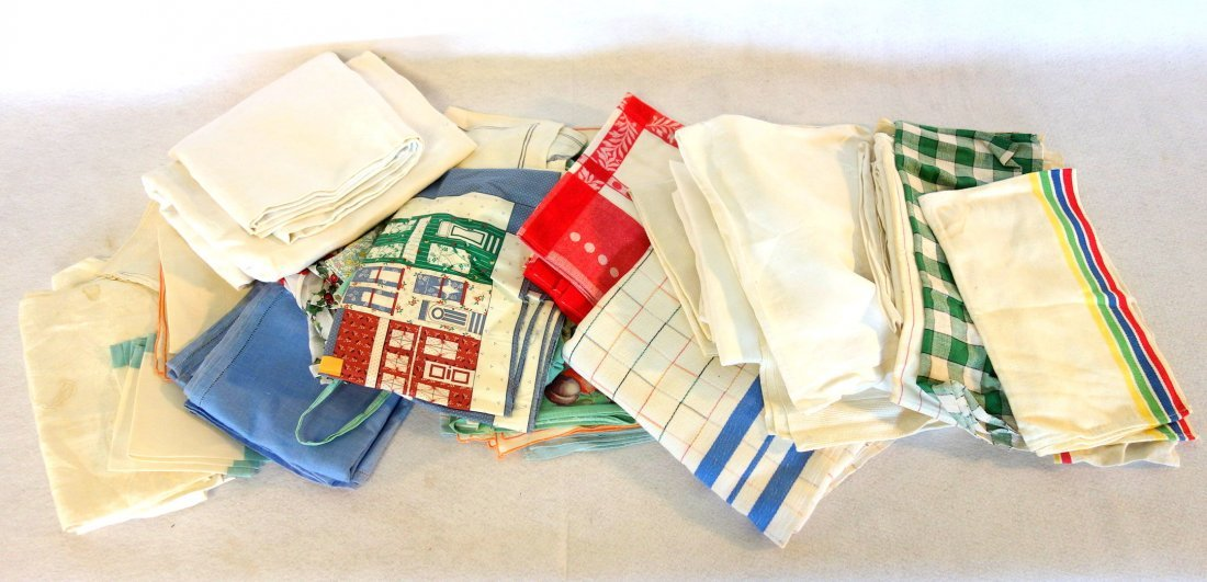 Large lot of 2 boxes of old mostly hand sewn linens and - 4