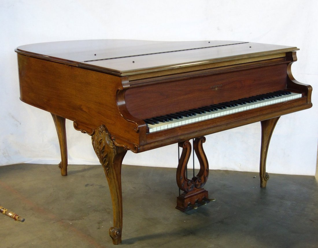 Hardman fruitwood baby grand piano in the French style