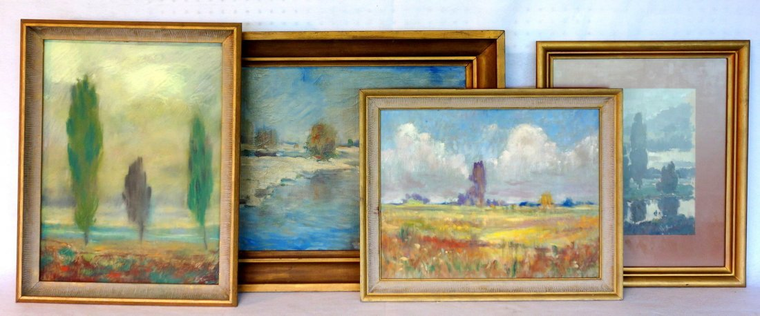 Grouping of 4 impressionist landscapes including O/B,
