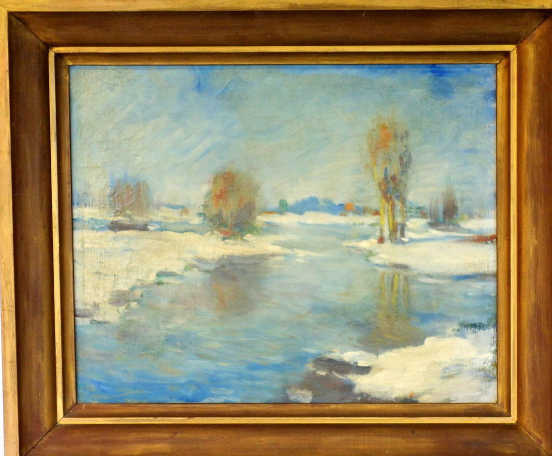 Grouping of 4 impressionist landscapes including O/B, - 2