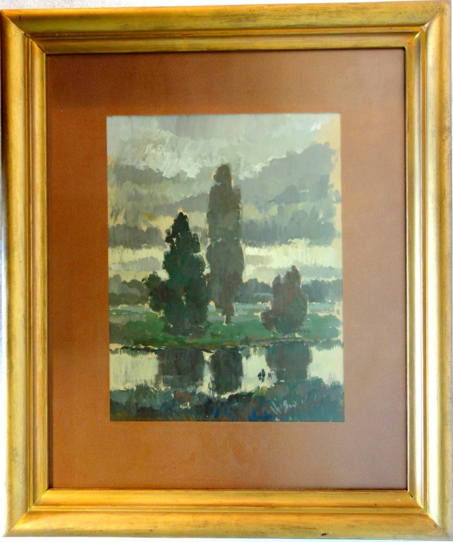 Grouping of 4 impressionist landscapes including O/B, - 3