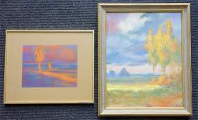 Two colorful pastel landscapes Two OB Impressionist