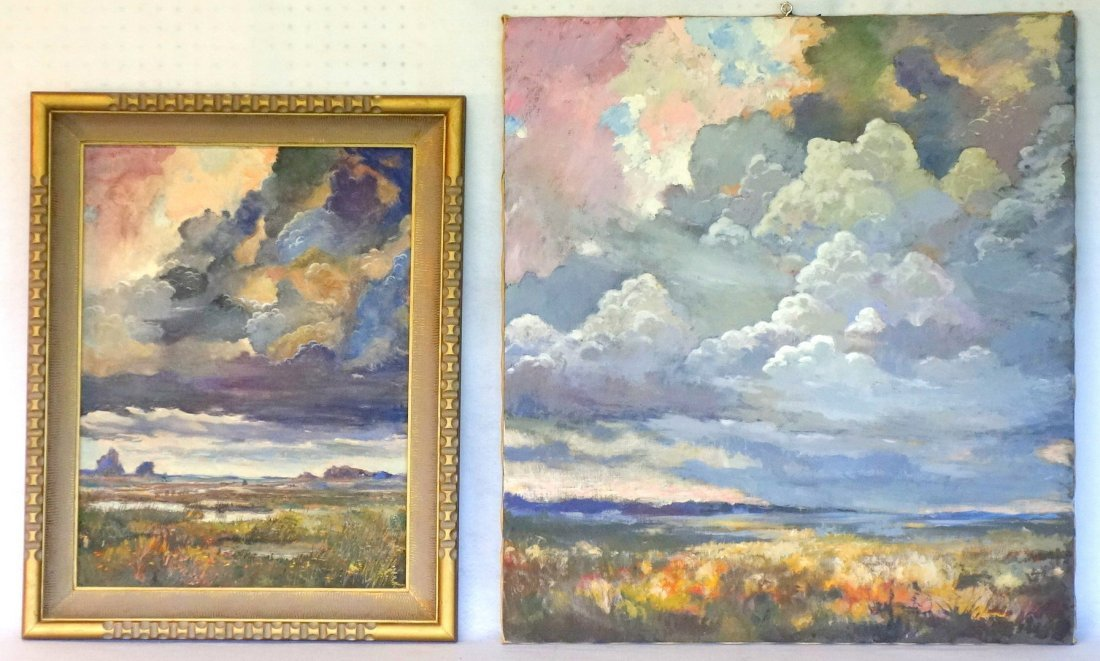 Two impressionist cloud formation paintings, including