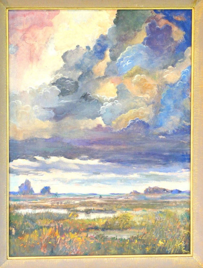Two impressionist cloud formation paintings, including - 2