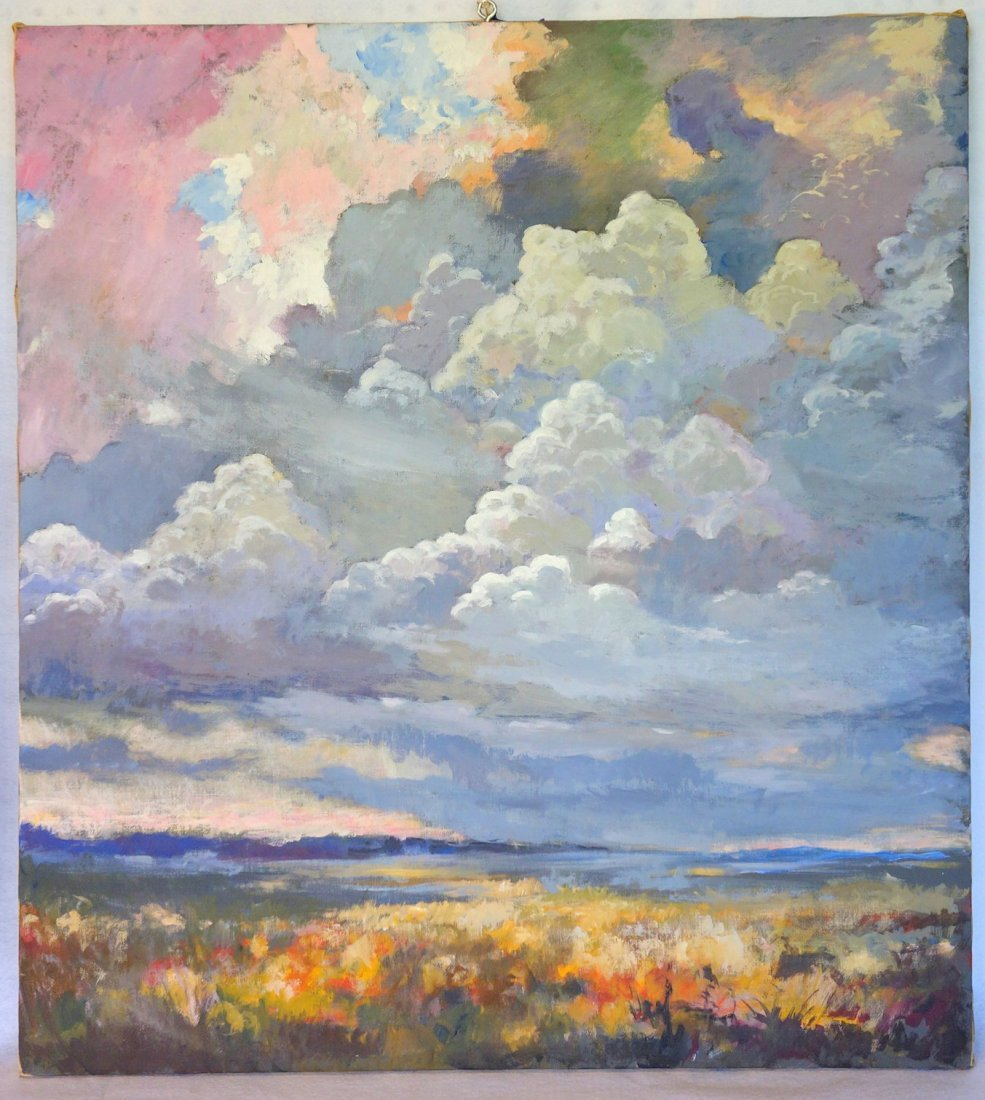 Two impressionist cloud formation paintings, including - 3