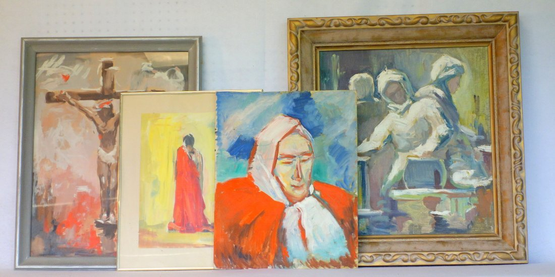 Grouping of 4 mostly modern artwork including O/C
