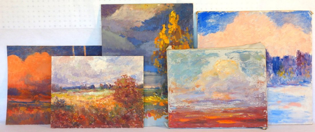 Grouping of 5 miscellaneous O/B Impressionist, unframed
