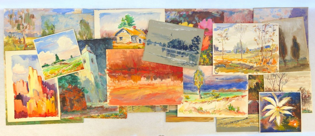 Grouping of 27 mostly impressionist landscapes, various