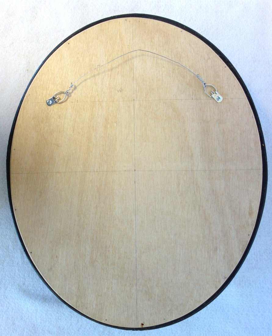 Convex oval wall mirror with mahogany or walnut frame - 2
