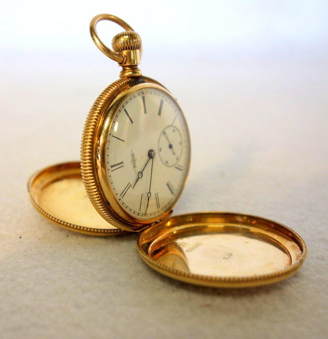Signed Elgin gold pocket watch mark Dueber 14k -