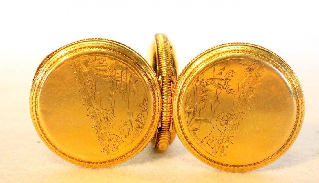 Signed Elgin gold pocket watch mark Dueber 14k - - 2