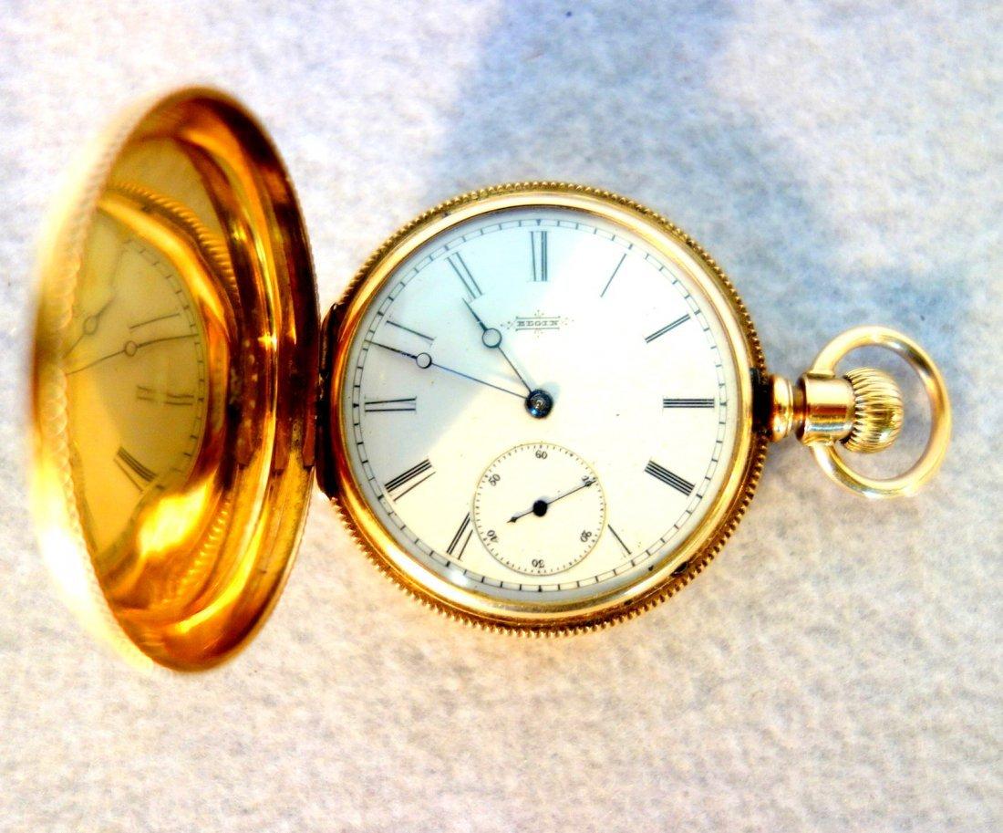 Signed Elgin gold pocket watch mark Dueber 14k - - 3