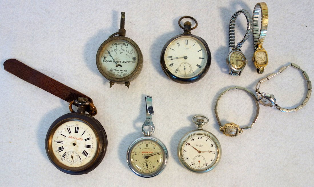 Grouping of old watches including Walthman coin silver
