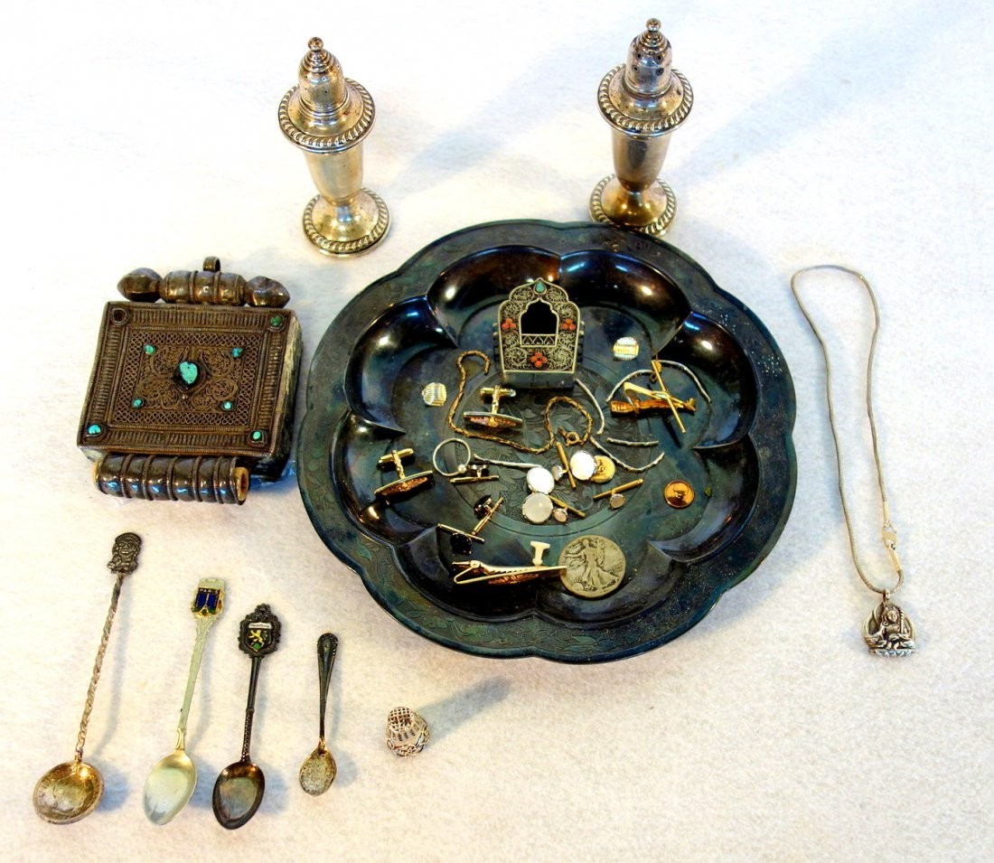 Grouping of decorative objects including sterling salt