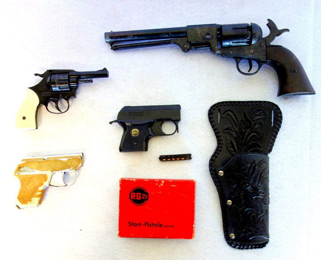 Grouping of 3 starter pistols and 1 newer black powder