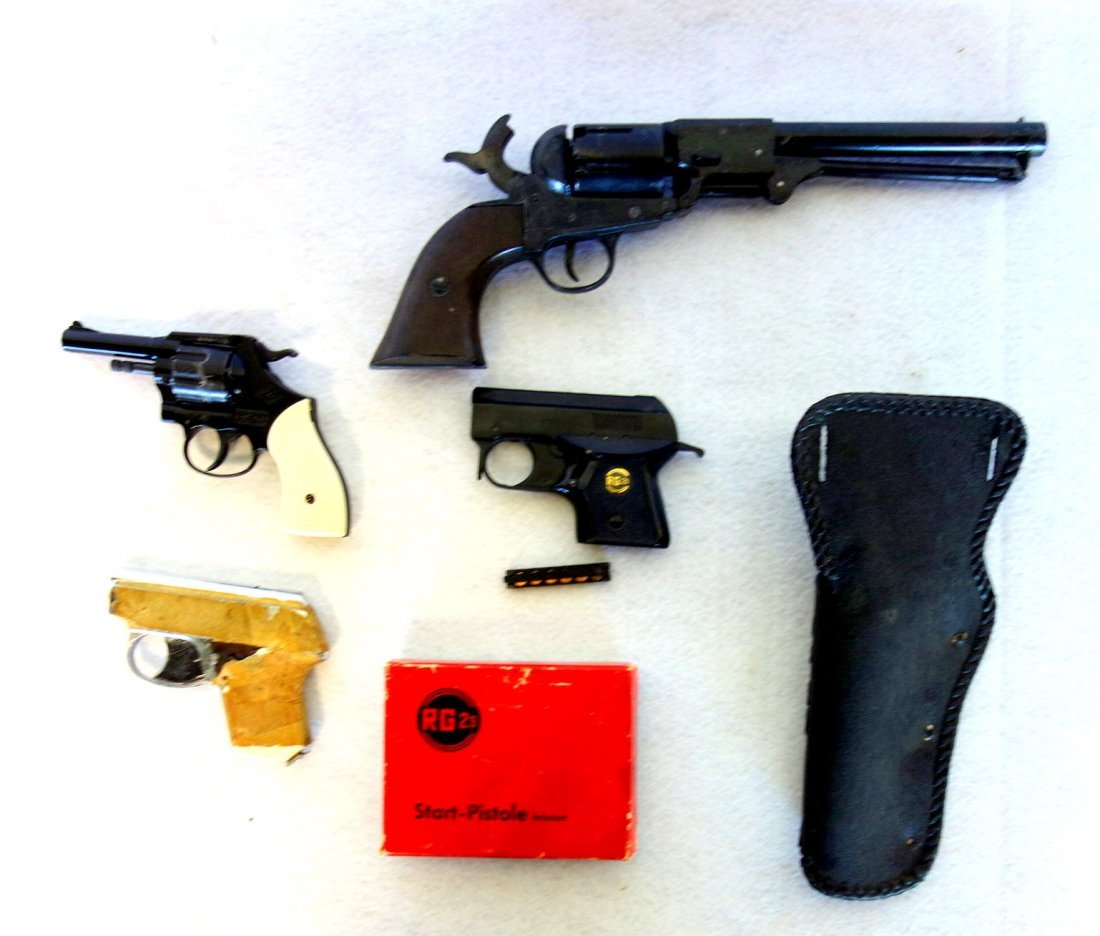 Grouping of 3 starter pistols and 1 newer black powder - 2