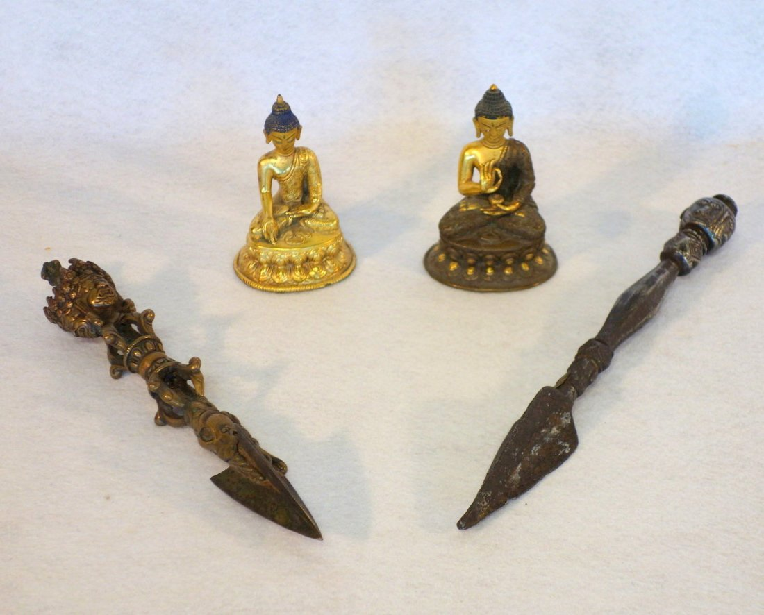 Four Indian decorative objects including ornate bronze