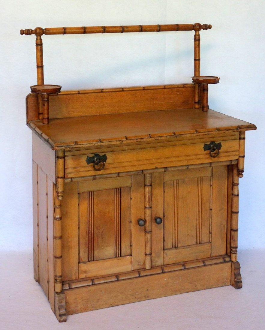 Salesman sample Victorian poplar wood washstand with