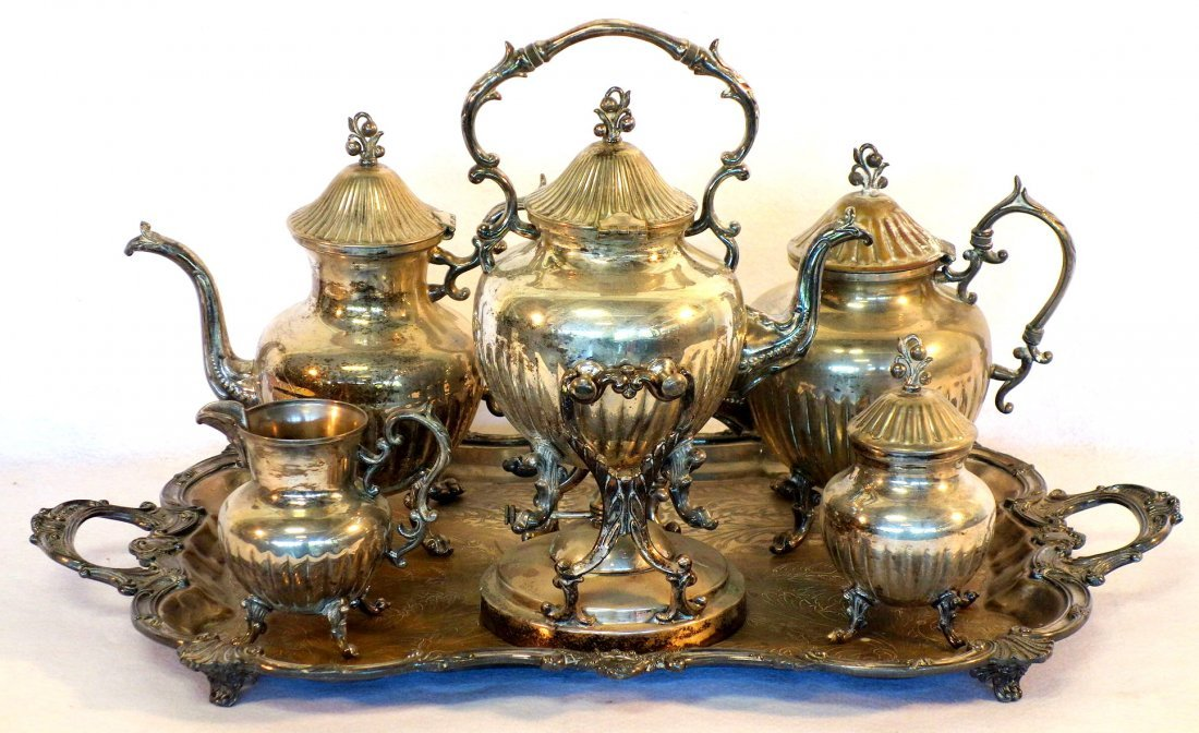 Six piece silver plate tea/coffee service signed B.S.C.