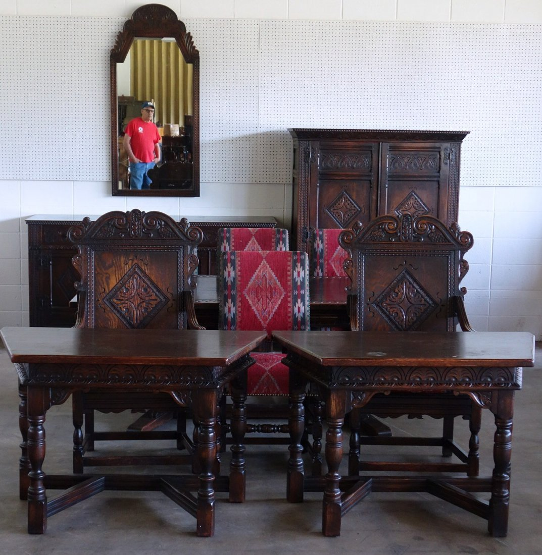 The best 1920's Jacobean style 12 piece oak dining room