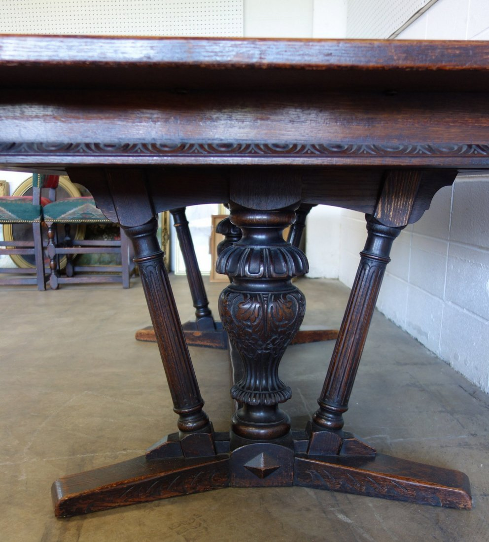 The best 1920's Jacobean style 12 piece oak dining room - 6