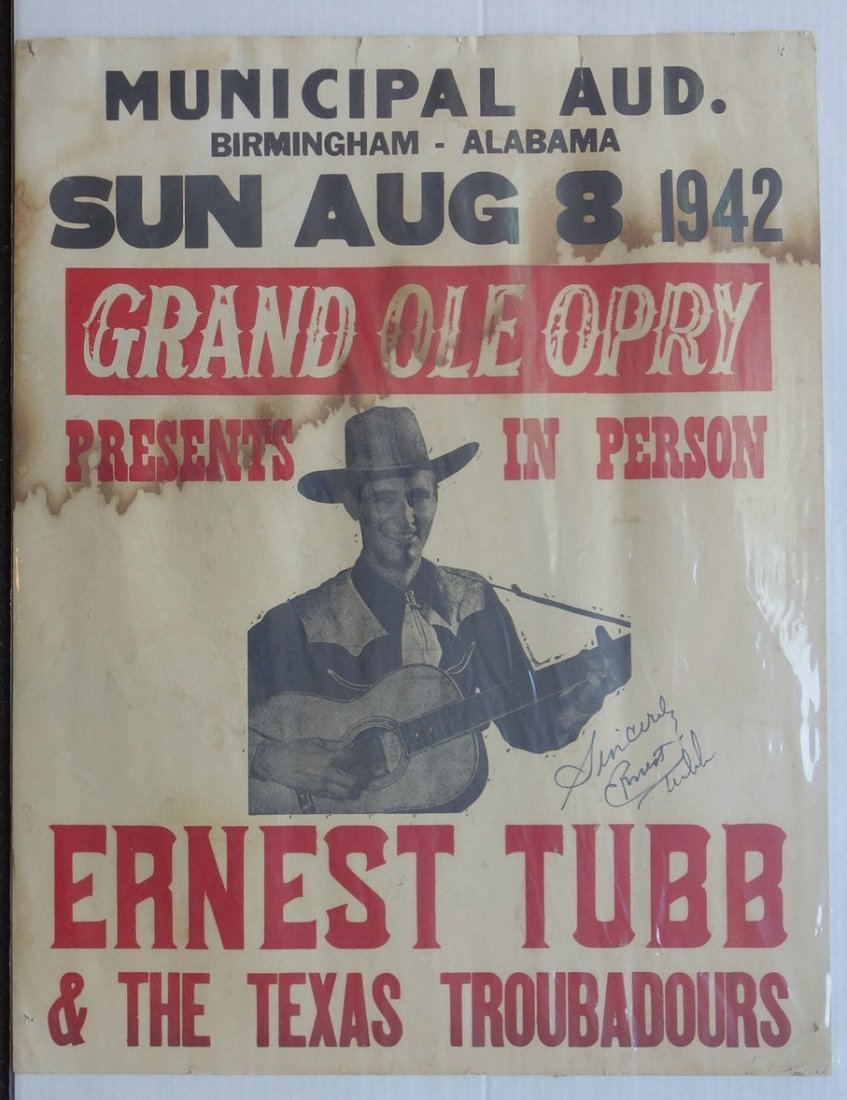 Ernest Tubb hand signed advertising poster. Country