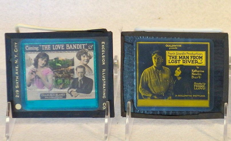 Grouping of 19 glass slides of old movie posters some - 10