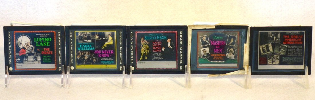 Grouping of 19 glass slides of old movie posters some - 2