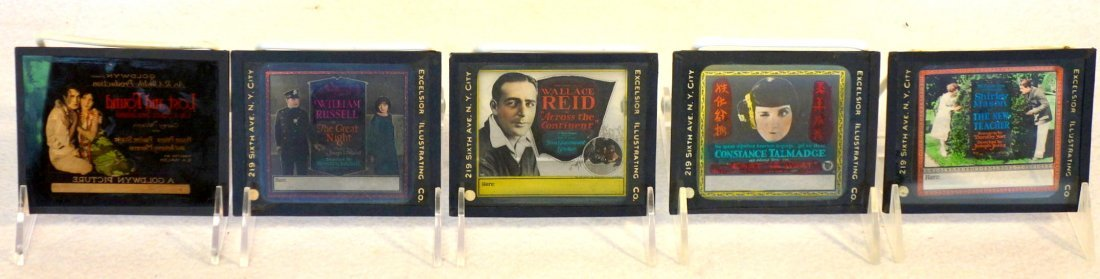 Grouping of 19 glass slides of old movie posters some - 4