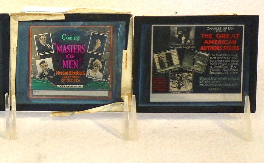 Grouping of 19 glass slides of old movie posters some - 7
