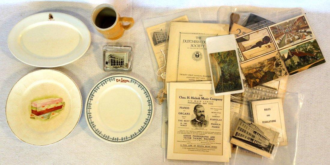 Grouping of ephemera and advertising tableware