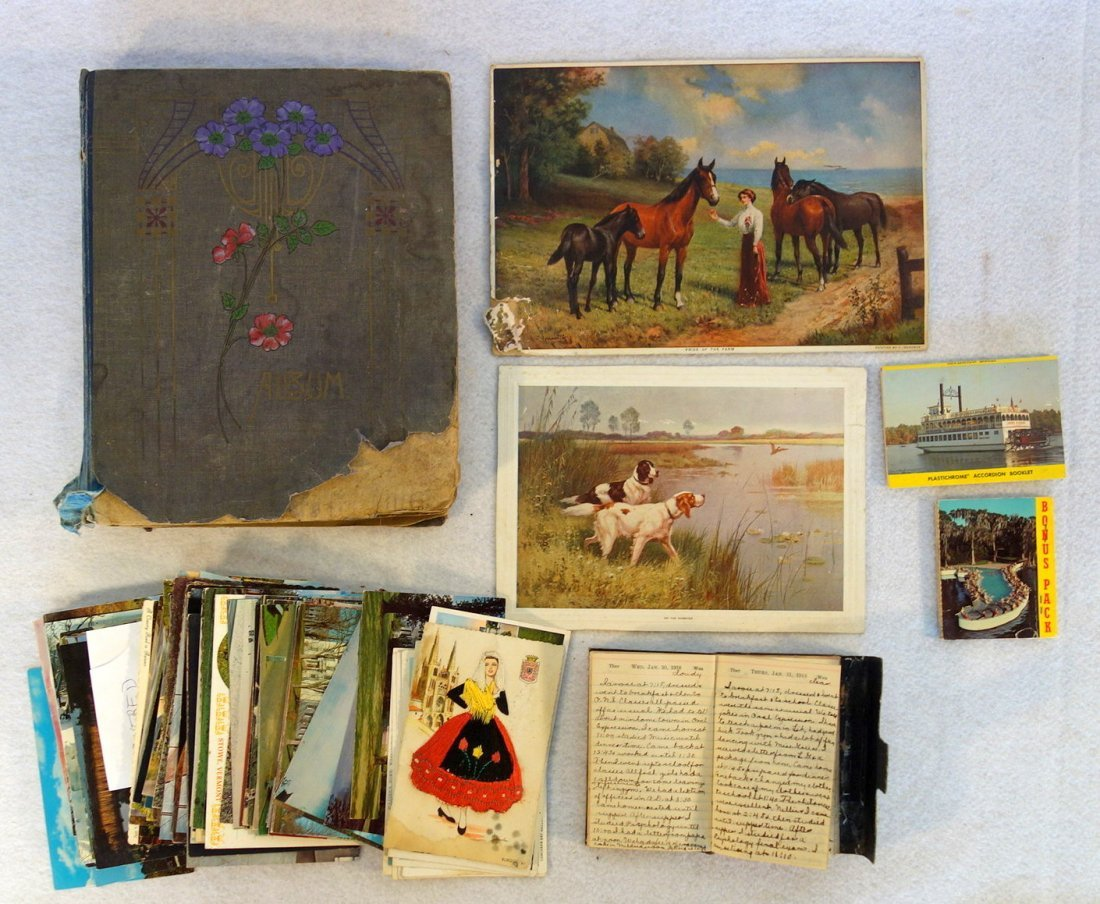 Grouping of ephemera. Includes post card album with
