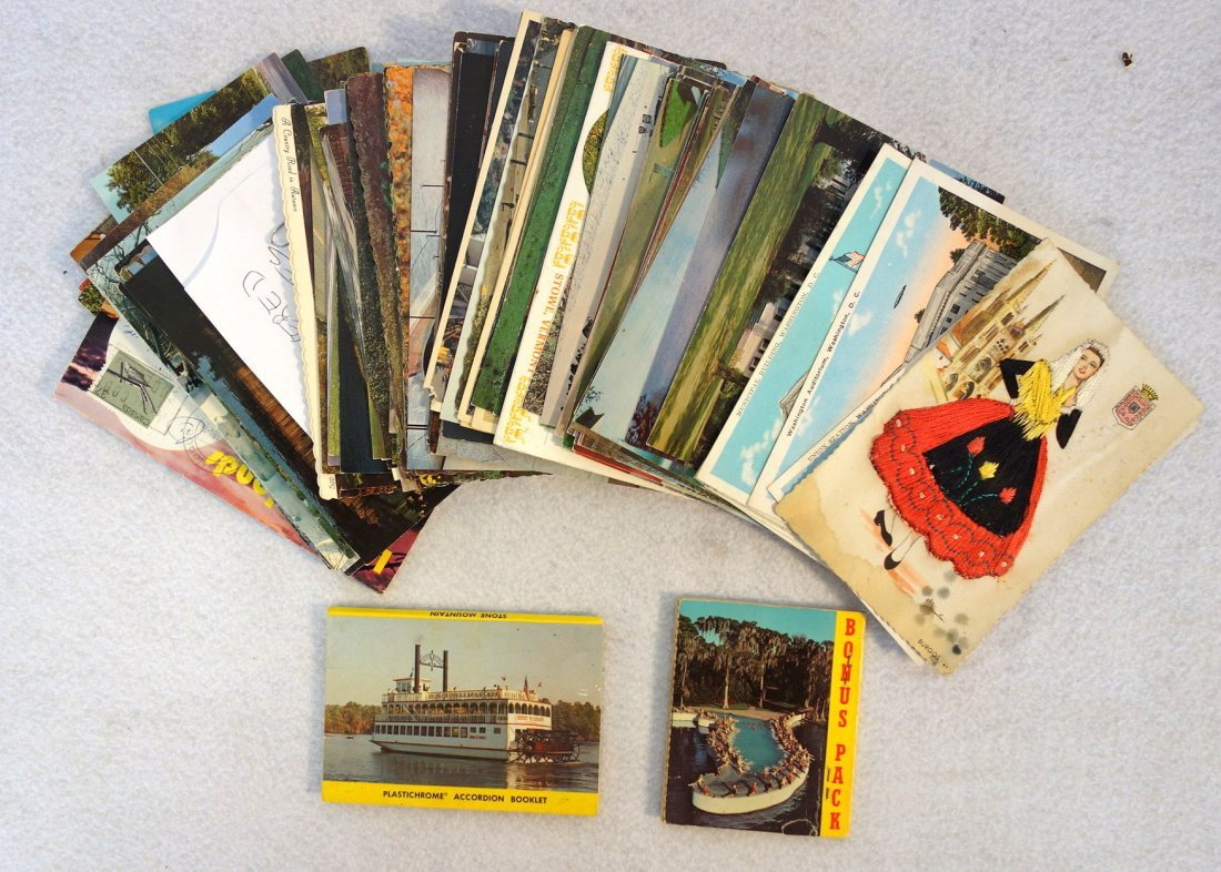 Grouping of ephemera. Includes post card album with - 2