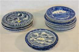 Grouping of 25 blue and white transferware souvenir