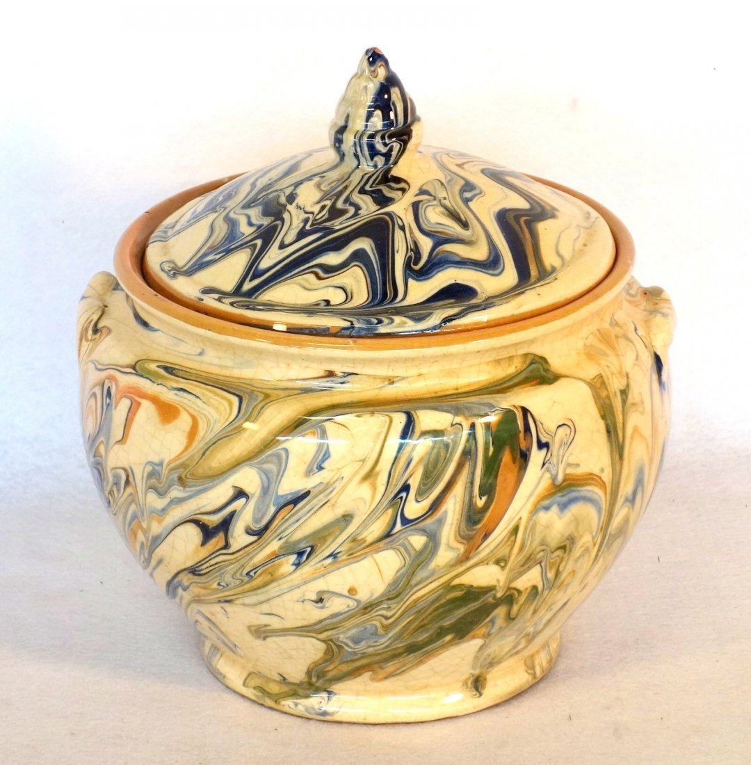 Large French jaspe covered earthenware pot, probably