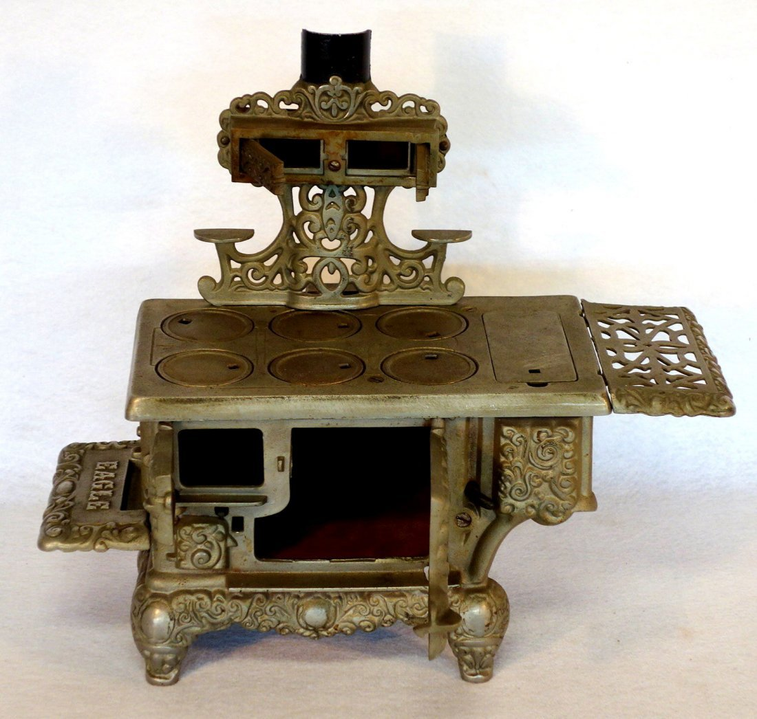 Large ornate nickel plated doll stove signed Eagle - - 2